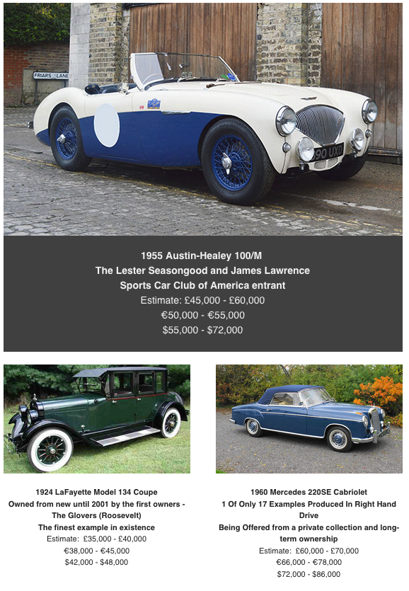 Austin Healy at coys classic car auction